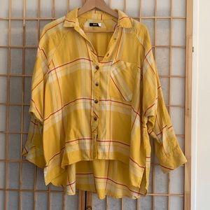 BDG yellow plaid flannel